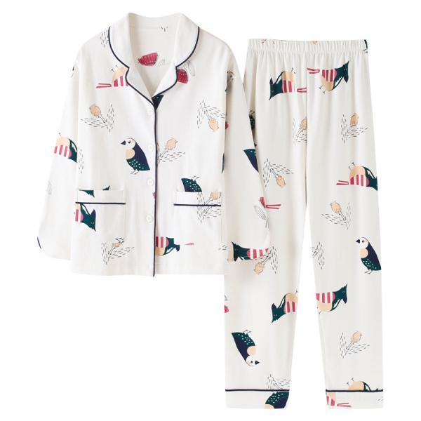 睡衣女长袖春秋季纯棉韩版女士大码薄款春夏季全棉家居服两件套装 (睡衣女长袖)
