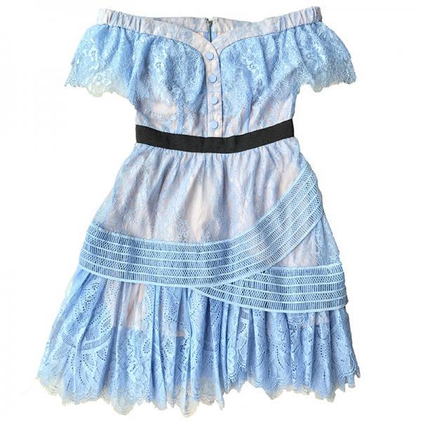 夏装女装古力娜扎明星同款一字领露肩蓝色蕾丝修身显瘦连衣裙礼服 (夏装女装古)